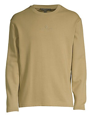 "Image of A tonal logo highlights the front of this cotton fleece sweatshirt. Ribbed crewneck Long sleeves Pullover style Cotton Machine wash Imported SIZE & FIT Boxy fit About 26"" from shoulder to hem. Men Advcd Dsgnr - Men's Designer Rtw. Belstaff. Color: Green."
