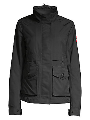 Image of Lightweight jacket with utilitarian-inspired styling. To create a lighter feel, body of jacket is unlined, however sleeves are lined for on-off ease and comfort. Stand collar with interior drawcord Long sleeves Zip front with concealed snap placket Articu