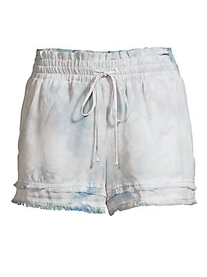 "Image of Drawstring shorts with a subtle tie-dye effect accented with distressed trim. Elasticized drawstring waist Pull-on style Waist welt pockets Distressed tiered trim Tencera Machine wash Made in USA SIZE & FIT Wide-leg fit Rise, about 10"" Inseam, about 2.5"""