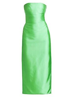 Liquid Satin Strapless Midi Dress by Brandon Maxwell