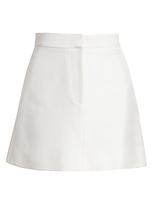 Image of Brandon Maxwell injects glamour into even the simplest of silhouettes. Here, the A-line skirt is given a mini length and finished with a subtle sheen for a sophisticated piece. Banded waist Zip fly with hook-and-bar closure Lined Viscose Dry clean Made in
