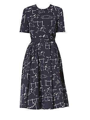 Image of An illustrative horse print adds a touch of quirk to this crisp knee-length dress. A sash at the waist and full skirt make for a feminine silhouette. Roundneck Short sleeves Concealed back zip closure Self-tie at waist Cotton/elastane Dry clean Made in It