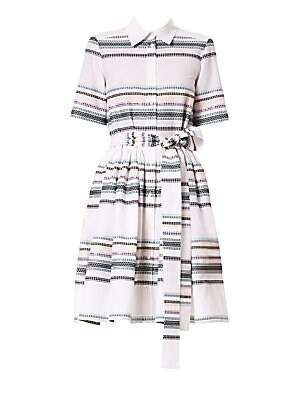 Image of A geometric pattern contained within the multicolored stripes on this dress lends it slight Southwestern flair. Its full skirt is enhanced by a sash at the waist, adding to the femininity of the silhouette. Point collar Short sleeves Button front Self-tie