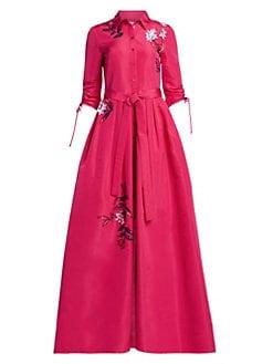 e4ea454d90311 QUICK VIEW. Carolina Herrera. Embroidered Silk Trench Ball Gown