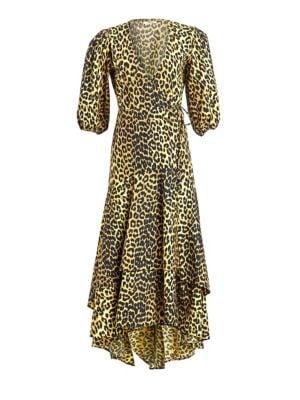 Ganni Dresses Printed Cotton Leopard Wrap Dress