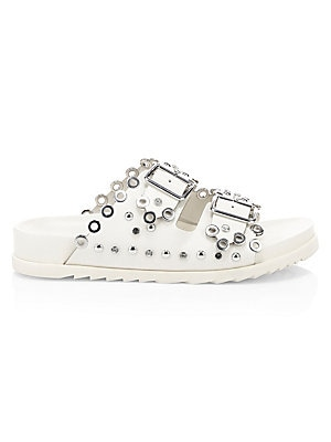 "Image of Double-strap sandals with glimmering silvertone embellishments. Calf leather upper Open toe Slip-on style Leather lining Rubber sole Imported SIZE Flatform, about 1.5"" (35mm). Women's Shoes - Contemporary Womens Shoe. Ash. Color: Milk. Size: 35 (5)."