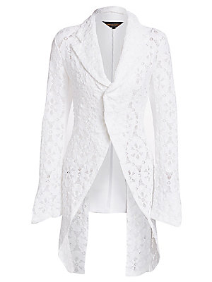 Image of A dramatic statement, this long-line tuxedo blazer is finished in medallion lace that gives a romantic femininity to the piece. It turns to reveal a split tail coat design that is ideal for pairing with tailored trousers for an alternative occasion look.