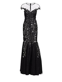 Teri Jon by Rickie Freeman. Cap Sleeve Illusion Sequin   Appliqué Tulle Mermaid  Gown a985d620e378