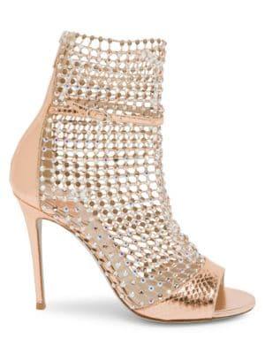 René Caovilla Galaxia Crystal Mesh Snakeskin-Embossed Metallic Leather Sandals