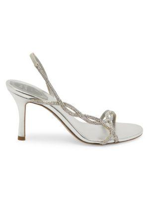 René Caovilla Treccia Embellished Slingback Stiletto Sandals