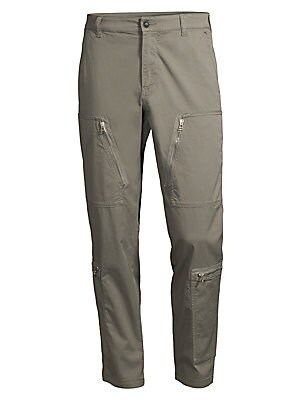Image of Industrial zip patch pockets adorn these durable pants. Belt loops Zip fly with button closure Side slash pockets Front zip patch pockets Side zip patch pockets Back flap pockets Paneled stitches Cotton/spandex Machine wash Imported SIZE & FIT Rise, about