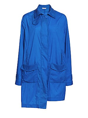 "Image of This contemporary windbreaker features two large patch pockets which emphasize a sharp stem hem. Spread collar Long sleeves Concealed closre Two front patch pockets Step hem Polyester Hand wash Made in Italy SIZE & FIT About 56"" from shoulder to hem Model"