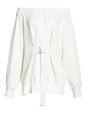 Image of Here, the classic sweatshirt takes a futuristic turn, with an off-shoulder neckline paired with an attached D-ring belt that swings from the garment. Shrug the piece off one shoulder for a nonchalant look. Off-the-shoulder Long sleeves Pullover style Atta