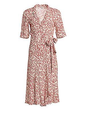 878e5232ce GANNI - Printed Crepe Wrap Dress - saks.com