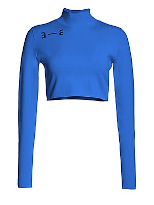 Image of A vibrant hue and cropped length lend this fitted turtleneck an athletic silhouette. Contrast logo detailing at the shoulder provides the finishing touch. Turtleneck Long sleeves Pullover style Viscose/polyester Hand wash Made in Italy SIZE & FIT Cropped