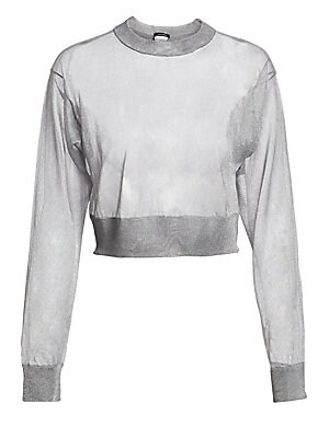 Image of Marrying an elegant metallic sheer fabrication with an athletic silhouette makes for an intriguing take on the sweatshirt. A cropped length keeps things fresh. Crewneck Long sleeves Pullover style Dropped shoulders Viscose/elite polyester Hand wash Made i
