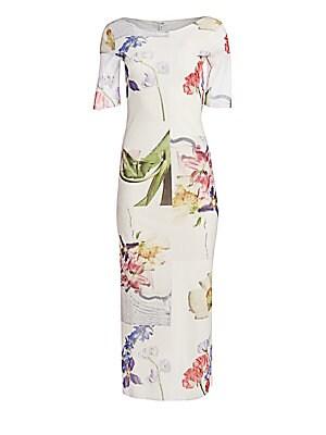 Printed Mesh Midi Dress by Ganni