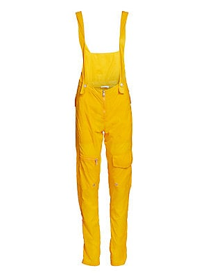 Image of A nylon fabrication and multiple pockets inject these overalls with a modern utilitarian aesthetic. Team with sneakers for a low-key look or dress up with a punchy heel for maximum impact. Shoulder straps with snap button closures Zip fly closure Side sla