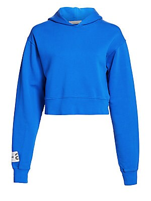 """Image of A shrunken length and voluminous sleeves lend this sweatshirt street edge. A hood finishes off the athletic silhouette. Attached hood Long sleeves Pullover style Dropped shoulders Cotton Hand wash Made in Italy SIZE & FIT Cropped silhouette About 18"""" from"""