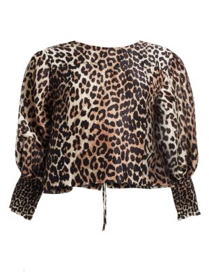 Ganni Tops Leopard Linen & Silk Blouse