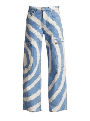 Ganni Jeans Mid-Rise Wide-Leg Washed Jeans