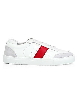 Image of Bold contrasting side stripe adds a pop of color to these versatile sneakers. Leather upper Padded insole Textile lining Synthetic sole Imported. Men's Shoes - Contemporary Lifestyle > Saks Fifth Avenue. Axel Arigato. Color: White. Size: 40 (7).