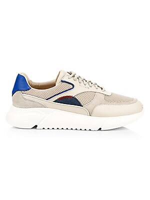Image of Elevated platform sneakers with denim and mesh patches flaunt a high tech finish. Leather upper Round toe Lace-up vamp Leather lining Rubber sole Imported. Men's Shoes - Contemporary Lifestyle. Axel Arigato. Color: Beige. Size: 39 (6).