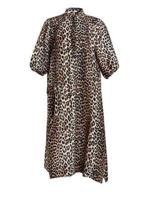 Ganni Dresses Cedar Leopard Linen & Silk Dress