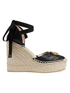 03c154b0c34 QUICK VIEW. Gucci. Palmyra Leather Wedges.  750.00 · GG Crochet Espadrille Wedge  Sandals BLACK