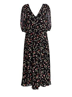 e91e917e8c GANNI - Paradise Elm Floral Print Georgette A-Line Midi Dress - saks.com