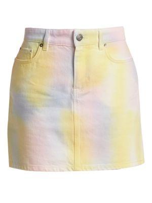 Ganni Skirts Paradise Tie Die Wash A-Line Denim Skirt