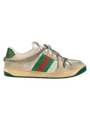 d4c8b3af371b Gucci - New Ace Leather Sneakers With Web Detail - saks.com