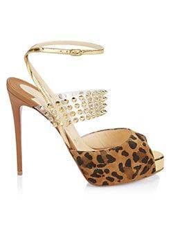 c27a0d2ced0 Christian Louboutin. Levitagirl 120 Studded Translucent   Leopard Suede  Peep Toe Slingback Platform Sandals