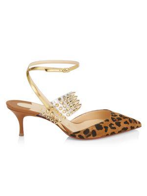 a9c8417807a Levita 55 Leopard, Spiked Translucent & Leather Ankle Strap Pumps