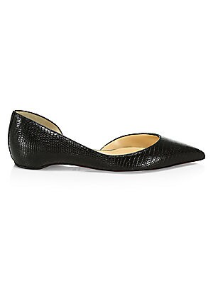 Iriza Crocodile Embossed Leather Flats by Christian Louboutin