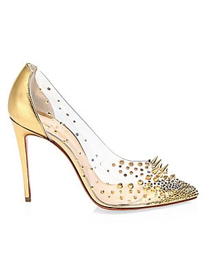 ec9774ca809c Christian Louboutin - Grotika 100 Embellished PVC   Metallic Leather Pumps