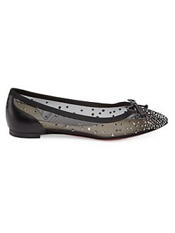 5a412f78ad62 QUICK VIEW. Christian Louboutin. Patio Embellished Leather Flats