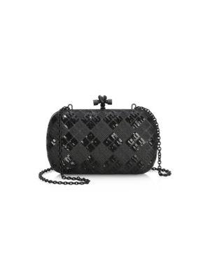 9485c471d8541 Bottega Veneta Chain Knot Paillettes Tartan Leather Clutch