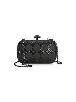 Bottega Veneta. Paillettes Tartan Leather Knot Clutch 3341460de95ac