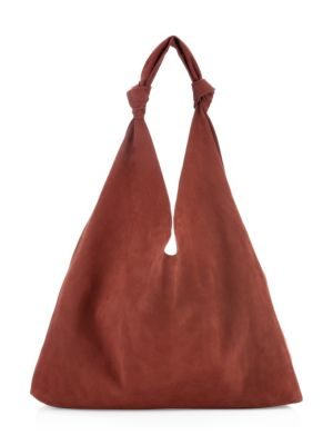Bindle Double Knot Suede Hobo Bag in Maroon