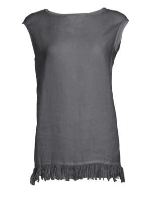 7a74a8ba97ae1 Fabiana Filippi - Sleeveless Fringe  amp  Beaded Tunic Top