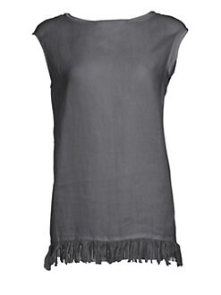 2428164c25c Fabiana Filippi. Sleeveless Fringe   Beaded Tunic Top