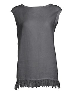 5e5fd0d3dab20 Fabiana Filippi. Sleeveless Fringe   Beaded Tunic Top