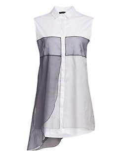 06e470ded3d Organza Overlay Cotton Shirt Tunic WHITE GREY. QUICK VIEW. Product image