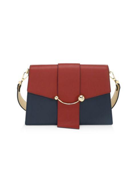Strathberry Crescent Tri-Color Leather Shoulder Bag   SaksFifthAvenue