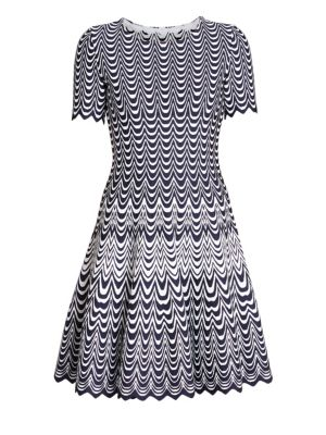 Alaïa Vagues Flared Knit Short Sleeve Dress