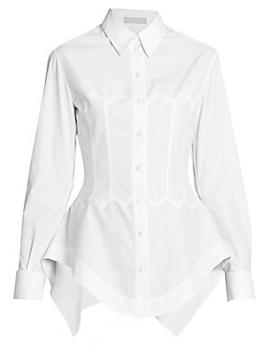 Image of Cut from a crisp cotton poplin, this white shirt fuses classic tailoring with the brand's iconic silhouette that cinches in at the waist with corset-like seaming to flatter the smallest part of the body. The hem is rounded at the front, and gathered at th
