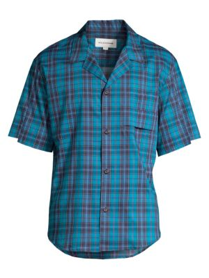 Solid Homme Plaid Short Sleeve Button Down Shirt