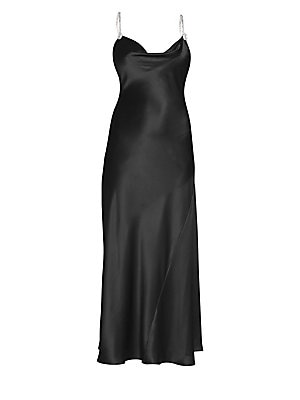 Image of Cut on the bias, this silk skip dress flaunts crystal-studded straps for look-at-me glamour. A scandalously-high slit is a cheeky addition to the silhouette. Draped scoopneck Crystal-studded spaghetti straps Pullover style Side slit Silk Dry clean Made in