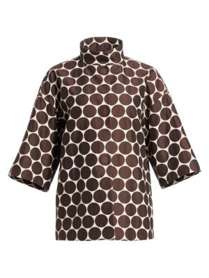 Akris Punto Oversized Dot Mockneck Jacket